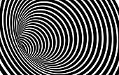 Geometric Black and White Abstract Hypnotic Worm-Hole Tunnel - Optical Illusion - Vector Illusion Optical Art poster