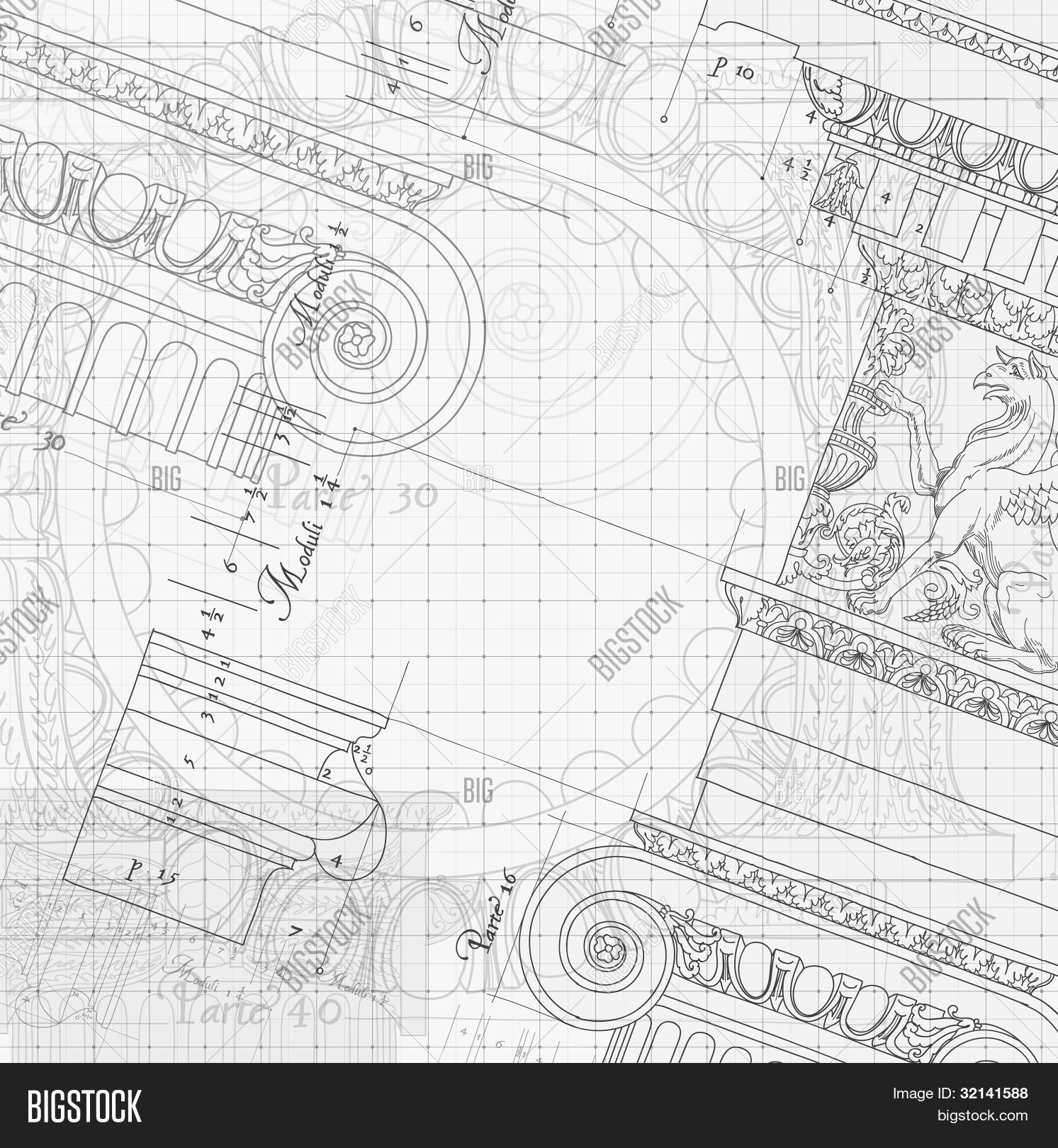 Blueprint hand draw sketch ionic vector photo bigstock blueprint hand draw sketch ionic architectural order based the five orders of architecture malvernweather Choice Image