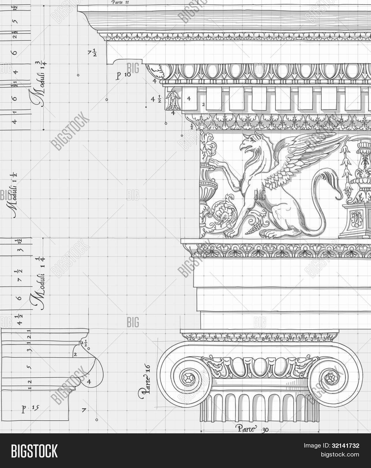 Blueprint hand draw vector photo free trial bigstock blueprint hand draw sketch ionic architectural order based the five orders of architecture create a lightbox malvernweather Image collections
