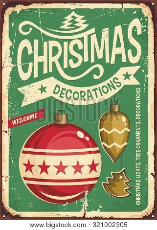 Christmas Ornaments Sale Vintage Tin Sign. Hanging Christmas Baubles On Retro Green Background. Fest