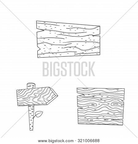 Isolated Object Of Hardwood And Material Sign. Collection Of Hardwood And Wood Stock Symbol For Web.