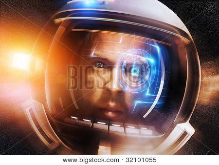 Future Scientific Astronaut. A Futuristic Space man deep in space