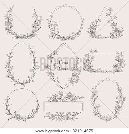 Collection Of Geometric Vector Floral Frames. Round, Oval, Triangle, Square Borders Decorated With H