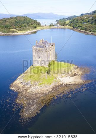 Castle Stalker At Port Appin In Argyll And Bute Highlands Scotland Aerial Birdseye View From Above