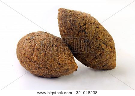 Kibbeh Traditional Lebanese Cuisine Food, Isolated On White Background