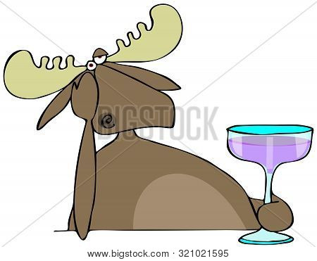 Illustration Of A Depressed Bull Moose Propping His Head Up With His Arm And Drinking Wine From A Gl