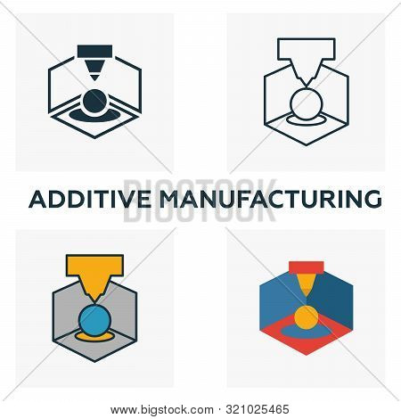 Additive Manufacturing Icon Set. Four Elements In Diferent Styles From Industry 4.0 Icons Collection