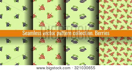 Seamless Pattern Set. Vector Berries. Natural Fashion Print Collection. Design Elements For Textile