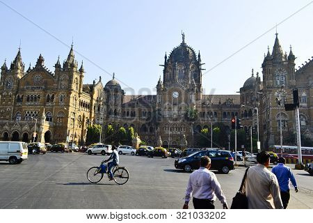 Mumbai, Maharashtra, India - December, 2016: People Crossing Pedestrian And Cars On Road Traffic Opp