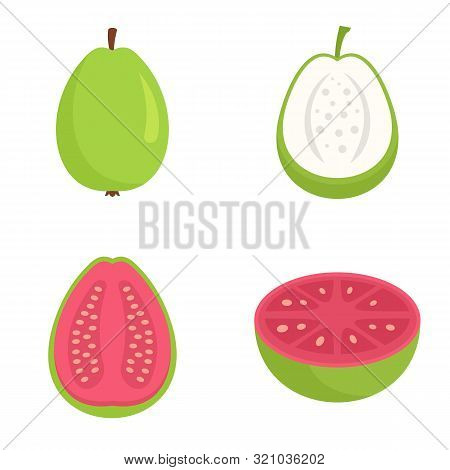 Guava Icons Set. Flat Set Of Guava Vector Icons For Web Design