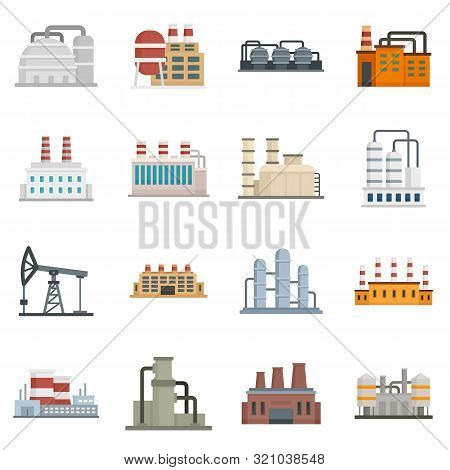 Refinery Plant Icons Set. Flat Set Of Refinery Plant Vector Icons For Web Design