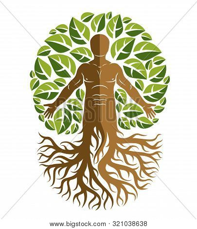 Vector Human, Individuality Created With Tree Roots And Surrounded By Eco Green Leaves. Family Tree,