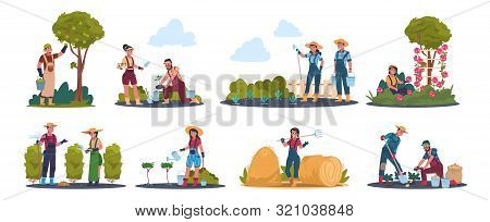 Agricultural Work. Cartoon Farmer Characters Working In Field, Harvesting Crops And Fruits. Vector I