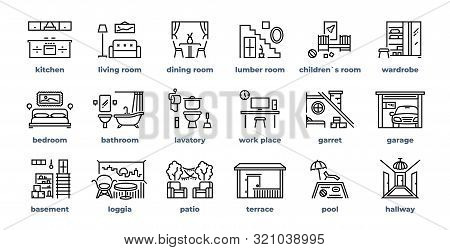Home Rooms Line Icons. Living Room Bedroom Kitchen Bathroom Simple Outline Flat Pictograms. Vector D