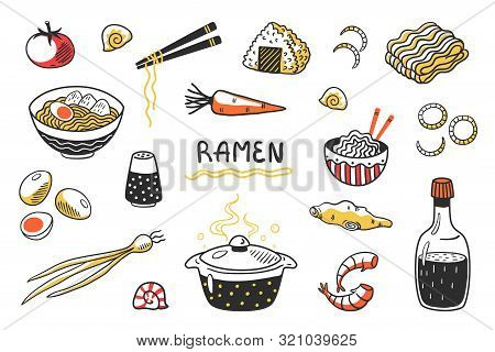 Doodle Ramen. Chinese Hand Drawn Noodle Soup With Food Sticks Bowls And Ingredients. Vector Asian Fo