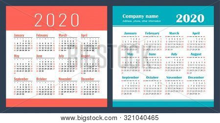 Calendar 2020 Year. Vector Design Template Set. Pocket Calender. Week Starts On Sunday