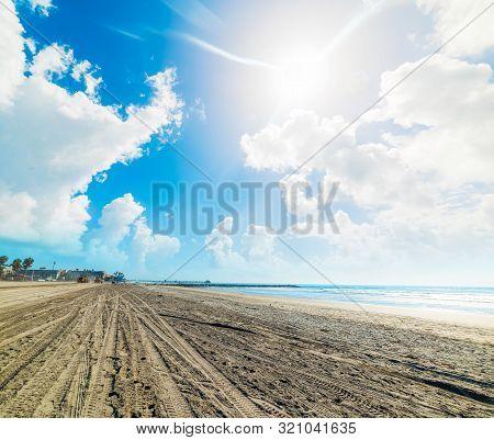 Sun Shining Over Oceanside Beach. Southern California, Usa