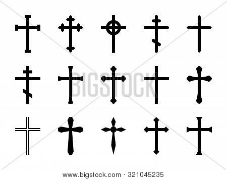 Christian Crosses. Catholic, Orthodox And Celtic Cross Crucifix. Faith And Prayer Religious, Christ