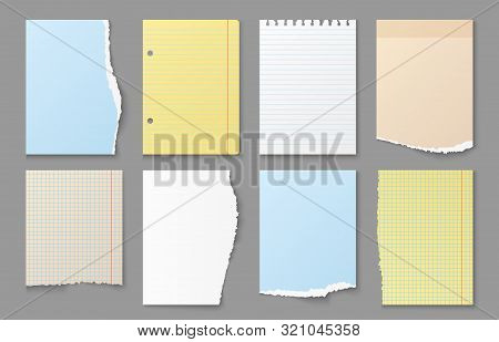 Torn Notebook Paper. Ripped Edges Of Note Sheets, Colored Blank Paper Messages And Reminder Stickers