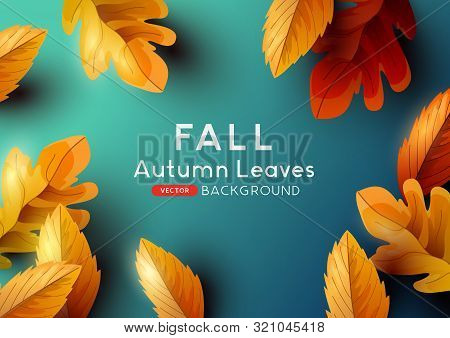 Autumn Season Background Design With Falling Autumn Leaves And Room For Text. Vector Illustration