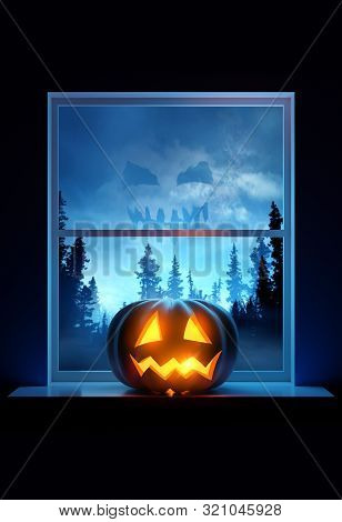 A Home Window Sill With A Glowing Jack O Lantern Pumpkin On Display On Halloween Eve. 3d Illustratio
