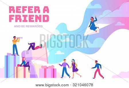 Refer A Friend. Friendly People With Megaphone Referring New Users. Business Recommendation Program.