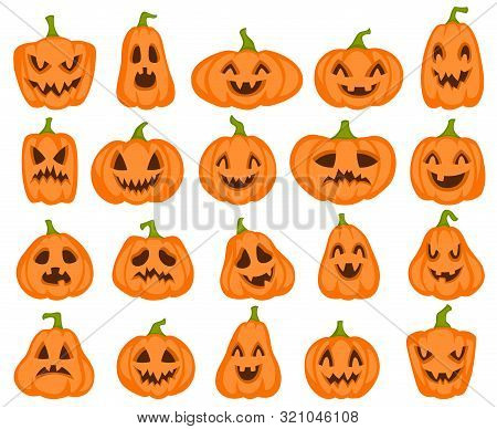 Halloween Pumpkins. Orange Pumpkin Jack Lantern Characters. Spooky And Angry Carved Faces For Autumn