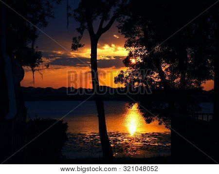 Natureza, Entardecer No Eua, Lago, Floresta Tropical