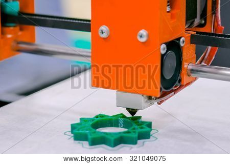 Three Dimensional Printer During Work At 3d Science Technology Exhibition. 3d Printing, Additive Tec