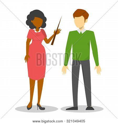 Teacher Character Couple. School Job, Education Profession