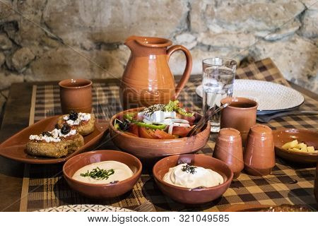 Cypriot Meze In Traditional Taverna In Small Village On Cyprus