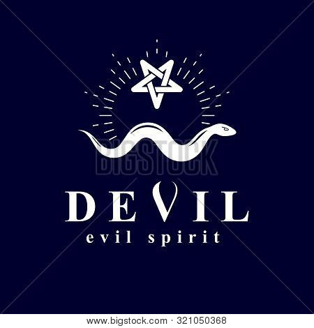 Vector Snake Created With A Pentacle Symbol. Satan Graphic Vector Emblem.