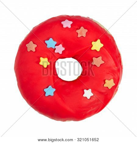 Donut With Red Icing And Sprinkles Isolated On White Background.
