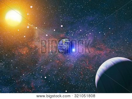 Panoramic View Of The Earth, Sun, Star And Galaxy. Sunrise Over Planet Earth, View From Space