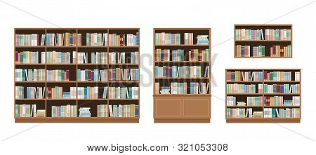 Bookcases And Bookshelves Full Of Books. Isolated On White Background. Education Library And Booksto