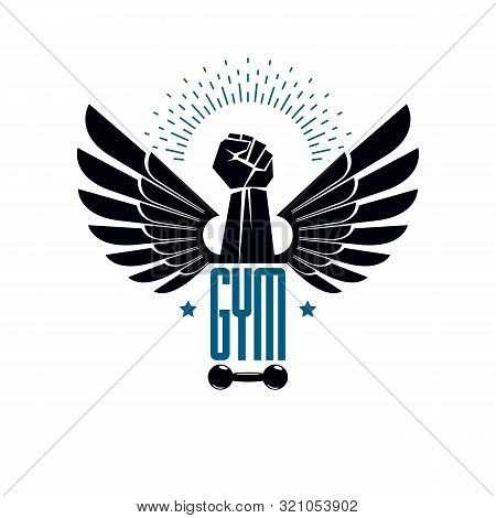 Gym Weightlifting And Fitness Sport Club Logo, Retro Style Vector Emblem With Wings. With Barbell An