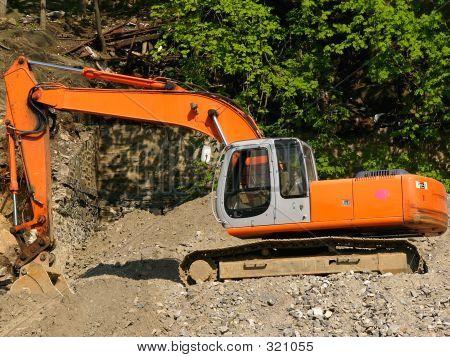 Orange Backhoe