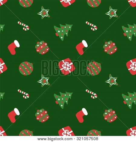 Christmas Green Pattern. Winter Holiday Wallpaper. Seamless Texture For The New Year. Santa's Hat, T