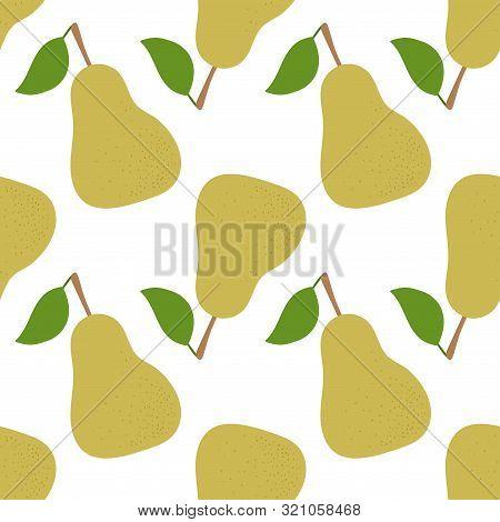 Pear Seamless Pattern. Hand Drawn Fresh Yellow Fruit. Fashion Design. Vector Sketch Background. Food