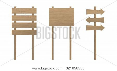 Wood Sign Boards Set Isolated On White Background With Clipping Path Path. Wood Road Signs.