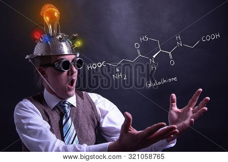 Professor presenting handdrawn chemical formula of glucose molecule poster
