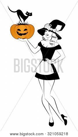 Beautiful Retro Pinup Style Witch Holding A Pumpkin And Cat, Isolated On White Background