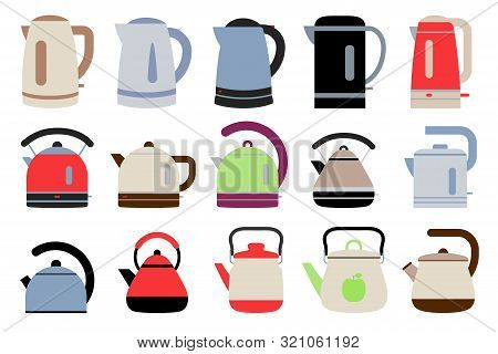 Electric And Gas Kettles. Flat Style Teapots. Cookware Collection. Metal And Plastic Samples. Color
