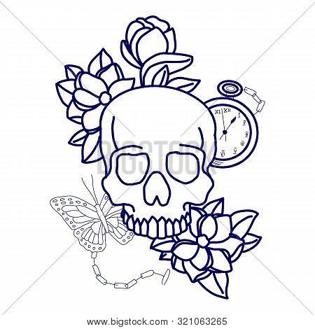 Skull Print/skull Illustration/evil Skull/concert Posters/skull Canvas Print/skull Tattoo/skull Art/