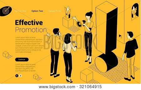 Exclamation Mark. Flat Design Isometric Vector Illustration Of Young Man And Woman With Alert Sign.