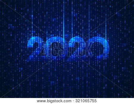 Concept Of Digital Technology World, 2020 New Year Combined With Binary Code