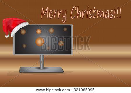 Christmas Monitor. Santas Hat With Christmas Computer Monitor. Tv And Santa Claus Red Christmas Hat