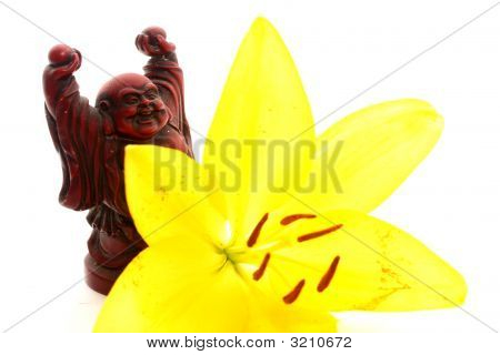 Red Buddha With Lily