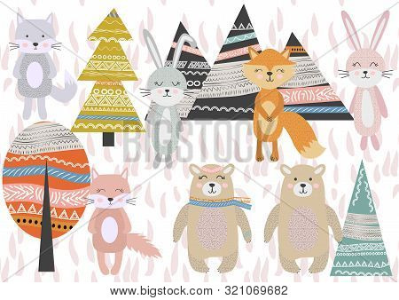 poster of Cute Scandinavian Style Animals and Design Elements. A set of animals in the Scandinavian style: bear, fox, rabbits, cats, wolves. Trees and mountains.