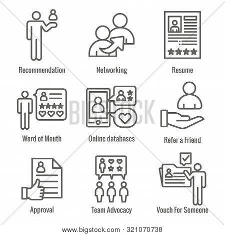 Employee Referral Process Icon Set With Networking, Recommendation, & Reference